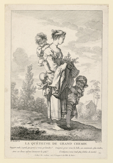A barefooted peasant girl stands in a landscape, with a child on her back and another stands beside her, clutching at her garments. She holds a basket of greens in her arms.