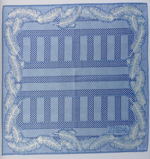 Square handkerchief, in shades of blue, with a field patterned by small dots confined within bands and stripes with feathers forming the outer border. Hemmed on four sides.