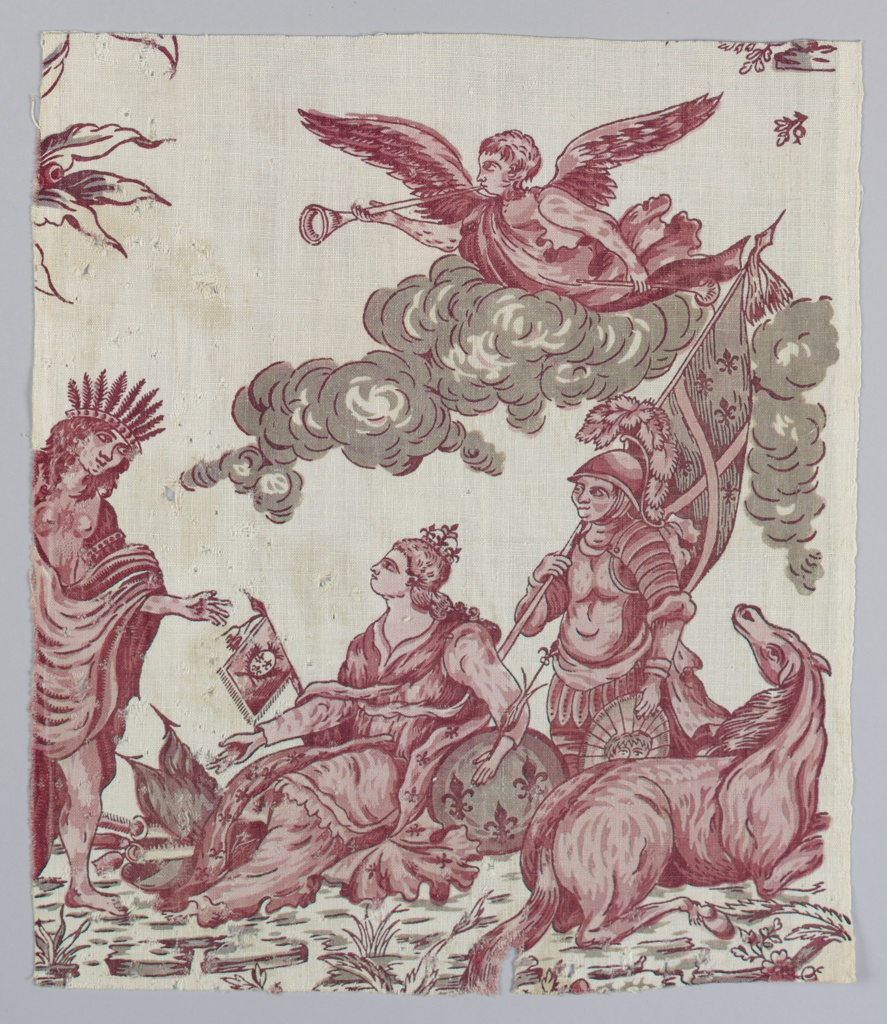 Fragment shows a figure representing America standing before two figures representing France. An angel on a cloud floats above playing a trumpet. On the ground is a horse looking in the direction of the angel. The bodies sit on foliage.