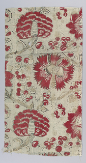 Printed cotton with a half-drop repeat design of bold carnations and peonies on a vine which branches to form an ogival lattice. In red and black on a black picotage ground.