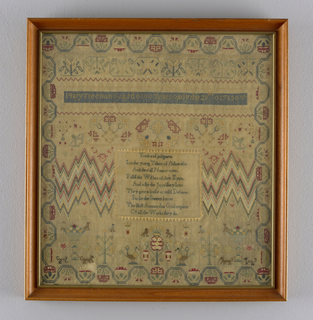"Very finely worked in colored silk on a fine natural linen ground.  Running vine border, bargello panels, and a verse, ""Youth and judgement."""