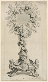 "A monstrance, shown frontally, in the rocaille style. Decorated with seraphs' heads and grapes.   At top: ""78"" (right corner); lower right: ""B. Audran sculp."" and inscription: ""Soliel Excute en argent pour les Religieuses Carmelites de Poitiers en 1727"""