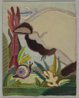 Profile of cat in ivory and brown peering at snail in ivory and violet on a light blue ground. The scene includes multicolored plants and leaves.
