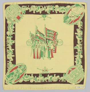 Square handkerchief has a central group of figures in robes and flags flanked by the date: May 12, 1937. In the border, the coronation procession with medallions at the corners showing: The King, The Queen, Buckingham Palace, and Westminster Abbey. Printed in green, red, and brown on a pale yellow ground.