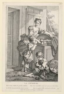 A young barefooted girl serves cream in mugs to two children from a covered wicker tray on a low pedestal. An open door, left.