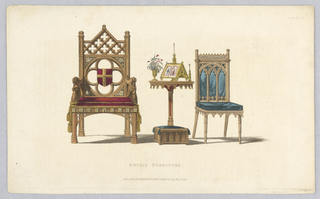 Two gothic-style chairs, with and without arms, flanking a table and hassock; brush and watercolor additions in red, yellow, and blue.