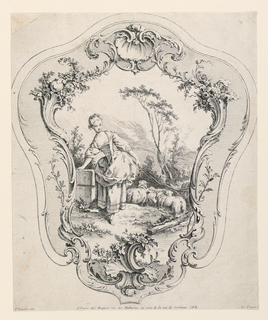In an irregular rocaille frame, in the shape of a fan, is a scene showing a shepherdess with her sheep.