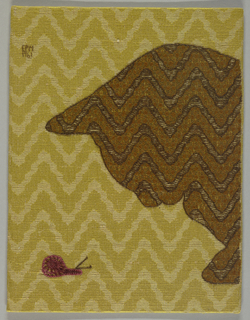 Profile of cat head in brown wool peering at violet snail embroidered on a foundation of tan and yellow damask.