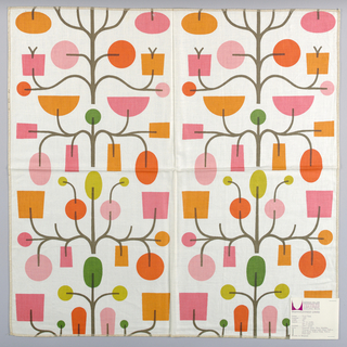 White plain weave printed with an abstract fruit tree motif in dark brown, orange, red-orange, dark pink, pink, green and olive green.