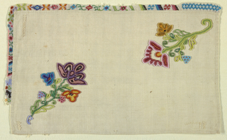 Rectangle of white cotton with beadwork edge on two sides; hemmed on other two. In the field, two floral motifs emerge from diagonally opposed corners.
