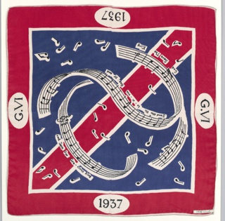 Red, white and blue square handkerchief with the monogram of the King and music and lyrics to the royal anthem.