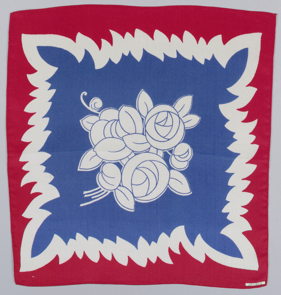 Souvenir square made for the coronation of George VI and Elizabeth of England. Printed in red and blue on white in a design showing a central bouquet of conventionalized roses in white outlined with blue, against a field of blue. Inner border of white; outer border of red.