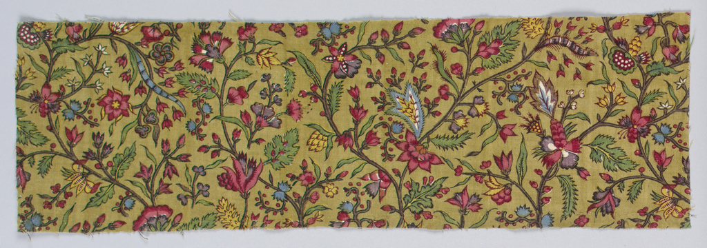 Small scale floral pattern in multi- color on drab background.