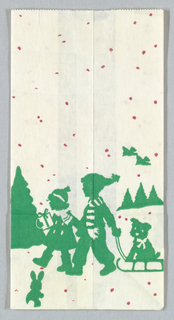 McDonald's: Season's Greetings; boy and girl in winter landscape pulling sled with dog. Put Litter in Its Place across top. Design continues in side panels. Red and green on white.
