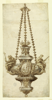 Lamp supported by three chains suspended by ring. At center of lamp, a medallion with two figures. Flanking this, two angels and sculptural figures. The one at left, a cross; the one at right, an anchor. At bottom, the papal keys and tiara.
