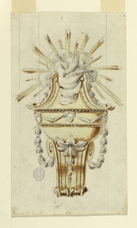 Bowl decorated with a frieze in which heads support drapery festoons. Below is a volute connected with the frieze by festoons. Above is a pediment with the dove of the Holy Spirit in clouds and with a glory of rays.