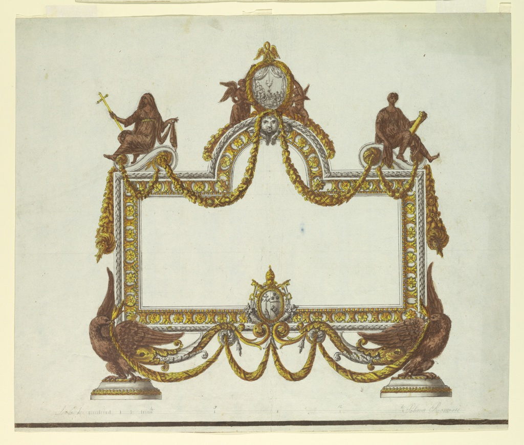 Horizontal rectangle. The square frame is supported by two eagles, in the center below the coat of arms of Pope Pius VII. In the center above an arch with a relief of the Last Supper on top, supported by two angels and crowned with a pelican. Upon volutes are sitting at the sides and at left Faith, with cross, and strength, with column.