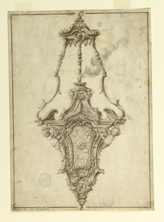 Design for a censer. At top is a canopy with a cherub head and lambrequins, with a ring at top. The body is hanging from three supports composed of balusters at top and scrolls at bottom. They are attached to a cornice. The front of the body has a monogram MA in a glory, with a molded frame, above two crossed lily sprays.  At the corners are half figures of angels.