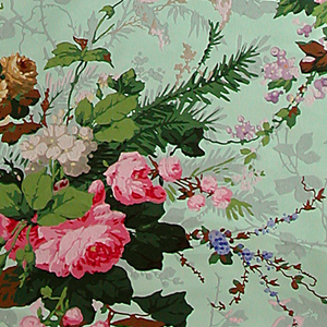 Vining floral pattern. Brightly colored realistically rendered floral bouquets, along with secondary vining pattern in grisaille. Printed on mint green polished or satin ground.