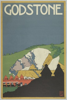 Poster design encouraging travel to Godstone using the London Underground. View of quarry with mountain in background, wagons, workers. Silhouetted building in foreground. At top in white text: GODSTONE