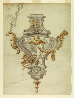 Design for a partial gilt silver censer. Alternative suggestions shown. At top is a flat platform, at center a gilded cherub. At right, a festoon; at left a seated angel. Drop at bottom. Suspended from chain at top left.