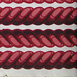 Narrow rope twist  or cable molding borders. Printed in shades of deep red on lavender ground. Printed eight across.  H# 135