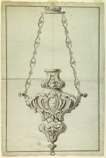 Design for a lamp intended to be executed in silver with a relief of St. John the Baptist and a statuette os St. Marguerite.