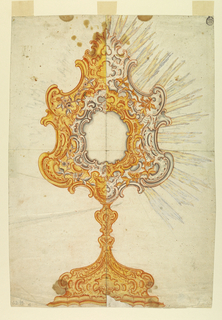 Vertical format design for a reliquary monstrance intended to be executed in white and gilded silver. The shaft is to be gilded. The upper part is drawn at left with less white, at right with less gilded silver. The elevation and decoration are symmetrically disposed but for the lack of symmetry in rocaille escutcheons. Below is a moulded base. A symmetrically disposed escutcheon is in the center of the foot. Around the ovoidal receptacle is a framing of rocaille scrolls like those at the edges of the outer frame. In the intervals are rocaille motifs and flower sprays. On top is a leaf palmette with a trefoil. A glory of rays is shown at right, slightly indicated at left.
