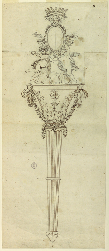 Fluted handle with a capital, surrounded by garlands. A running angel and another flying on clouds support an ovoidal medallion over crossed laurel boughs. Topped by a cherub and crown.