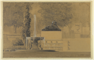 View of steps of plaza on right with large vase; at center, profile of large lion sculpture with fountain to its left; and trees with stone banister.