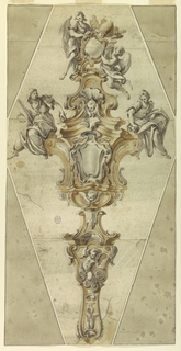 Cross-shaped scepter. At top, a shield with the papal coat-of-arms supported by two angels. At center, a larger shield and two figures of Henyth and Vigilance.