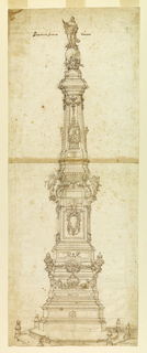 Lower section consists of a bilateral design for a hexagonal platform with posts with alternate suggestions on each side. The platform is shown from above. The obelisk is divided in many sections. The plans of the lower half are hexagonal. Various ornaments decorate the sections, including a mermaid, brackets with urns, and an escutcheon with cherub above. Angels stand on brackets and there is a bust of a Pope on the frontispiece. At top of pedestal, seated and kneeling angels carrying a sphere upon which a saint stands. There is a dog with a torch beside him.  (Study for plague monument in Piazza before S. Domenico Maggiore, Naples.)