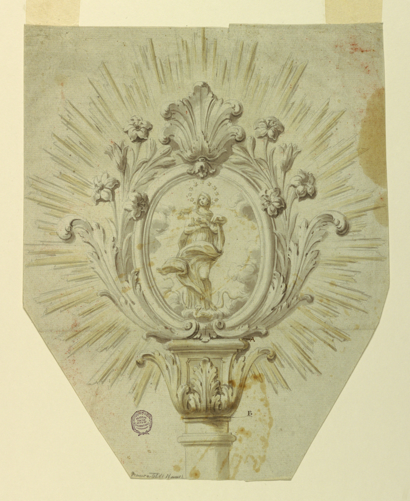 Beveled lower edges. The staff has a capital consisting of acanthus calyx and a pedestal. It is marked AB. Above stands an oval frame with acanthus leaves and lily sprays laterally, with a palmette on top. The Immaculate Conception is represented. A glory of rays is outside.