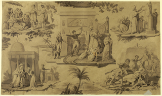 Drawing, design for a textile, includes five scenes: center, French officer being attacked by Arab chieftain; upper left, Arab chieftain witnessing a dance between three women; upper right, a chieftain paying homage to an idol, with other figures; lower left, a chieftain taking leave of his family before a mosque; lower right, battle between a Frenchman and an Arab.