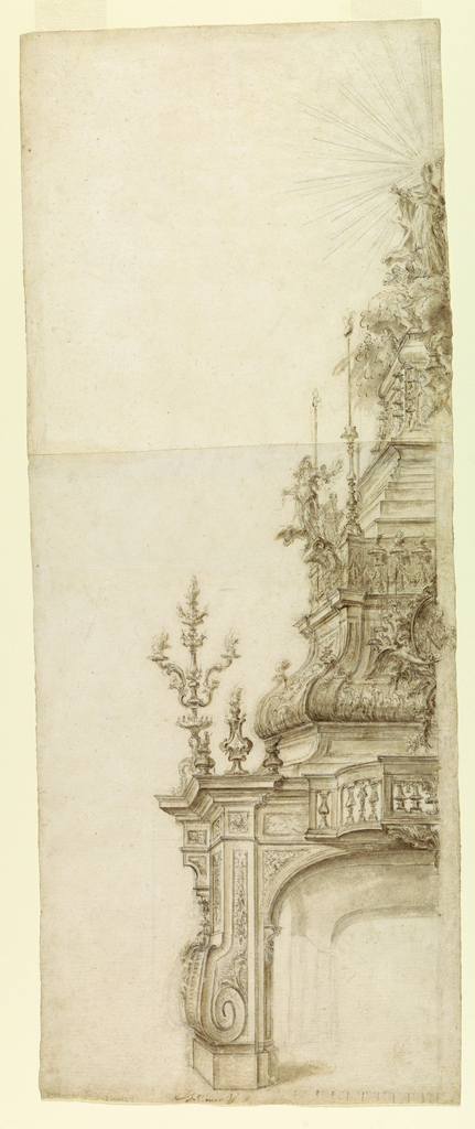 Drawing, Design for a Bishop's Catafalque