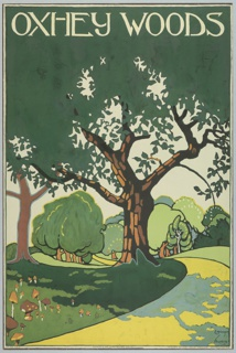 Poster design encouraging travel to Oxhey Woods using the London Underground. Landscape view with rolling hills and a tree-lined path leading through. In white lettering, above: OXHEY WOODS.