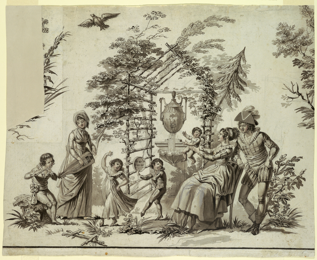 Family of seven before arbor and fountain, with two children dancing to tune of hurdy-gurdy and flute. Bird flies overhead.