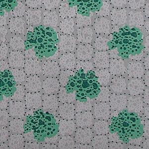 a) Green irregular circular motifs on top of smaller light gray irregular circular motifs on a dark gray background.  Overall black dots.  Green, shades of gray, and black.  H# 360
