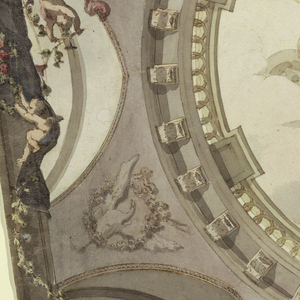 Design for a painted ceiling, viewed directly from below.  The central circular decoration shows Aurora (a winged figure riding in a chariot pulled by two horses; a putto with a burning torch flies in front of her).  The scene is placed within a tromp l'oeil architectural framework.  At each corner, an illusionary lunette with a pointed arch contains a bust on a pedestal: Orpheus for Music, Homer for Poetry, Apelles for Painting, and Vitruvius for Architecture.