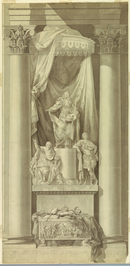 """Vertical rectangle in shape with a dado below. A sarcophagus stands between Corinthian columns. It is supported by two crouching lions and decorated at the front with a representation of the coronation of the """"Young Pretender"""" (most likely). Upon the cover are the royal and a bishop's insignia, a helmet and a wand upon a cloth. Behind the sarcophagus rises a pedestal upon which sits at left the Cardinal of York and lean, at right the Young Pretender upon the column shaft, upon which stands James III in front of a canopy, with the royal coat-of-arms. On the dado is written with crayon: """"[JA] COMO III – CARLO III – ENRICO IX DUCA DI [YORK]."""""""