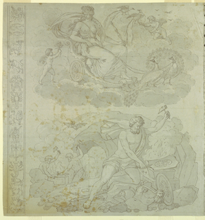 The design is composed of four vignettes, separated in pairs vertically, in the center of the composition by a strip composed of trophies symbolizing the elements, and at the repeat, by a strip showing the signs of the zodiac: A: upper left, Juno seated in a chariot drawn over the clouds by peacocks and accompanied by amoretti (personifying Air); Lower left, Vulcan forging armour (personifying Fire)  see also 1898-21-10-b and 1898-21-10-c