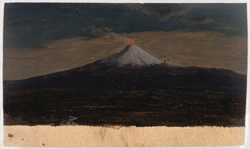 An erupting volcano is seen at center, with the cone covered with gray lava and the summit aglow. A stream meanders in the left foreground.