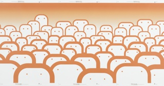 Amorphous figures each with two eyes facing forward, arranged in crowd format. The size of each figure varies as does the defining outline. The figures get smaller in size appearing to recede into the distance as they approach the top of the border. The unpatterned area at the border top is orange. Printed in deep orange on a white ground.