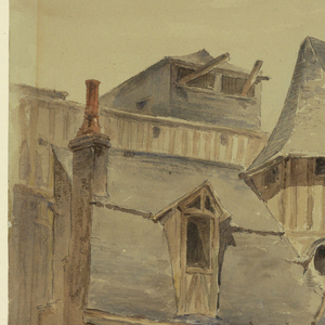 Street scene with a wall enclosing the court of a medieval house with an open staircase and projecting ones. A woman is seen carrying a basket.