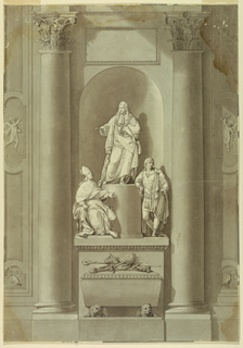 James is shown standing upon a round pedestal against which Charles is leaning and behind which Henry is seated, rising from an oblong pedestal. Two crouching lions support a sarcophagus in front of the latter. Upon its cover lie insignia of the three princes, on a cushion. The monument is intended to stand in a niche between two embedded columns. A tablet is shown on top of the niche. Wall panes positioned laterally.