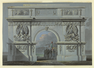"Horizontal format architectural design for a triumphal arch, an opening through which a group of captives, a figure of a Polish general, and troops are visible. In front of the lateral parts are pilaster strips, decorated below an entablature with wreaths between two eagles and above swords containing the letter ""S."" Trophies of arms are above the entablature. In the center of the main frieze is the name: SKRZINECKI. In an attic, laterally are two reliefs with battle scenes, and a tablet with a Polish inscription in the center. A date is indicated in the fourth line, reading probably: ADMCXXXI"
