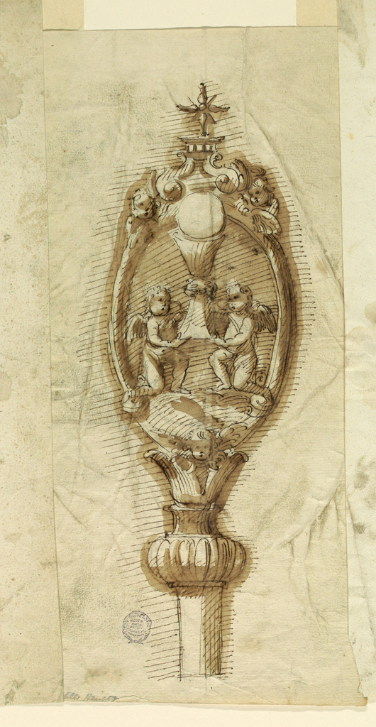 Below is the end of the staff. A calyx stands upon a bottle with bossed body. Upon it stands an oval frame, having a cherub below. Two angels kneel upon clouds and carry a chalice with the Host on top.