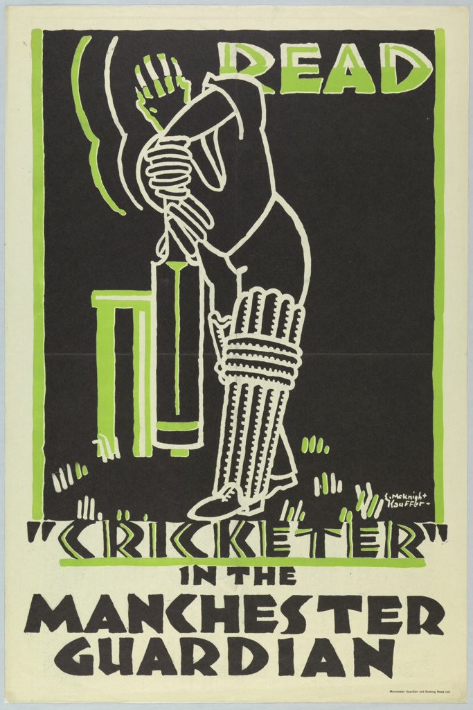 "Advertisement poster for a column in the Manchester Guardian about the sport of Cricket. White line drawing of a cricket player with green and white helmet on a black ground. Above, right: READ. Below: ""CRICKETER"" / IN THE / MANCHESTER / GUARDIAN."