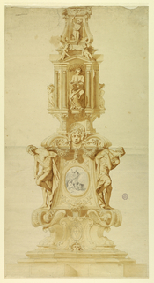 Two figures flank a roundel with religious scene. Above this, a mask and swags. At top, an aedicule with a seated figure. Above the pediment are three cherubs; one holds a fleur-de-lis.