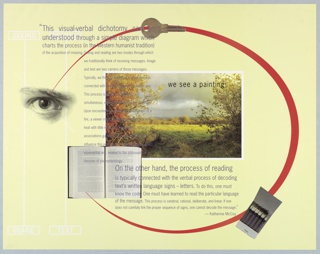 Poster with text and images throughout for a lecture by Katherine McCoy, February 21, 1991, describing her career, location, time, and admission cost. Recto: photographic images of key, eye, matchbook, open book, a landscape, McCoy's quote superimposed. Verso: text about the event. Printed in multicolored inks, including yellow, red, silver, etc.
